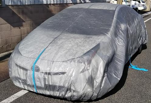 防水不織布自動車養生カバー(結束紐+絞り紐付き)